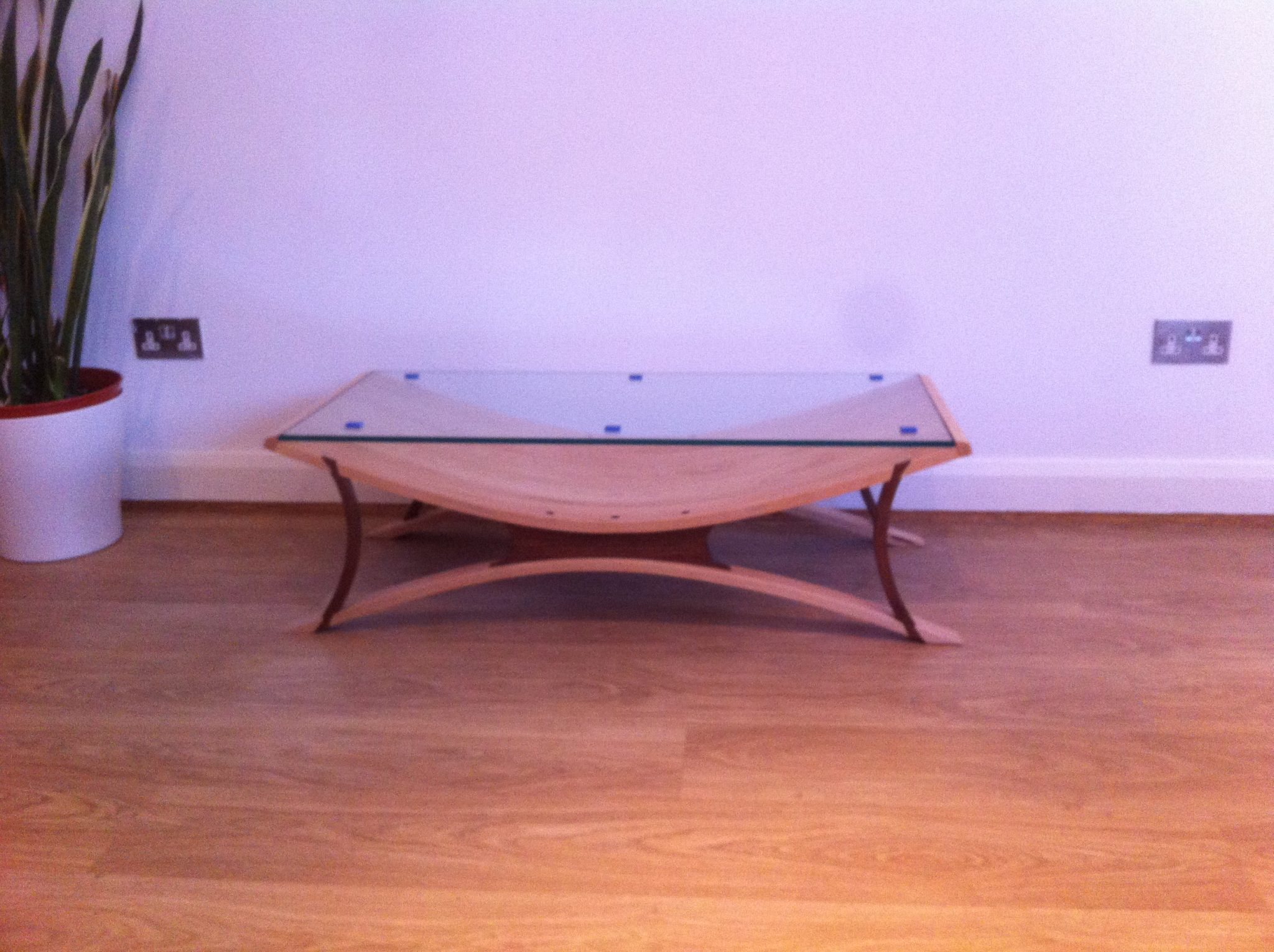 Barker Furniture Coffee Table, Steam Bent 20 Mm Maple, Black Walnut And 10  Mm Toughened Glass.